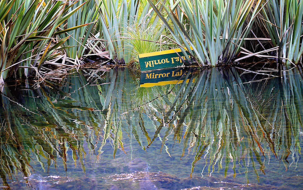 Mirror Lakes near Milford Sound South Island NZ