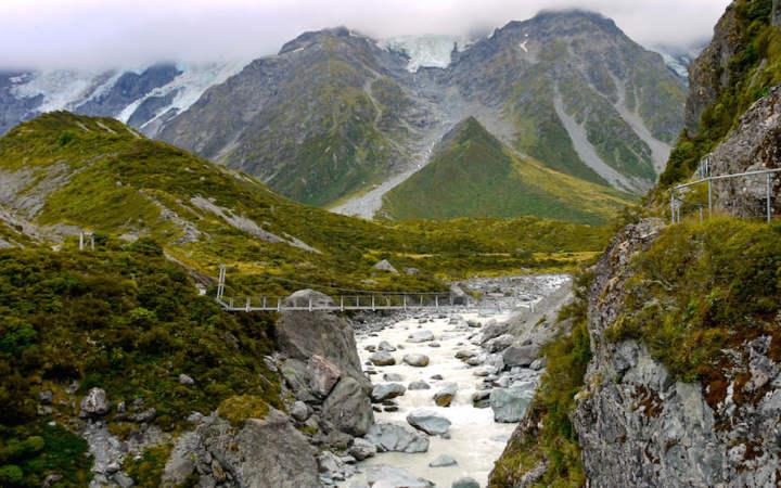 Hanging Bridge at Hooker Valley Walk near Mt. Cook South Island NZ