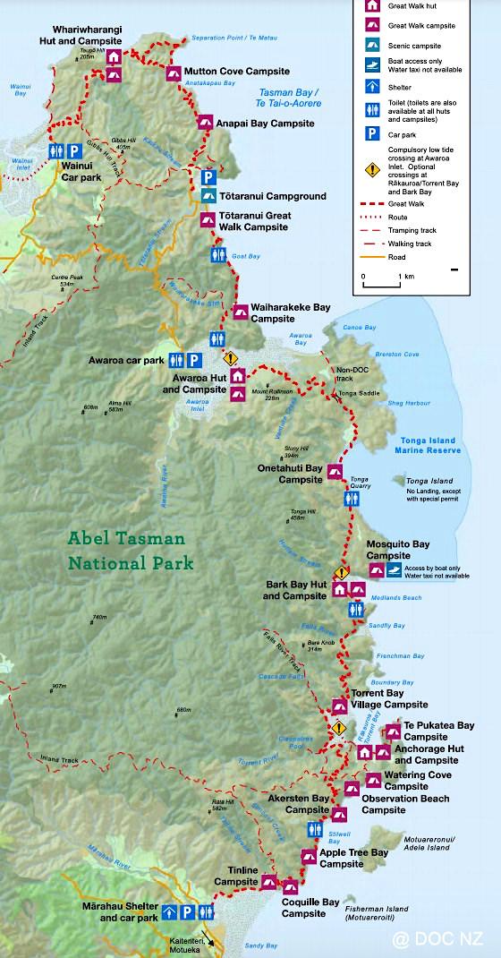 Abel Tasman Track Karte - Neuseeland Südinsel