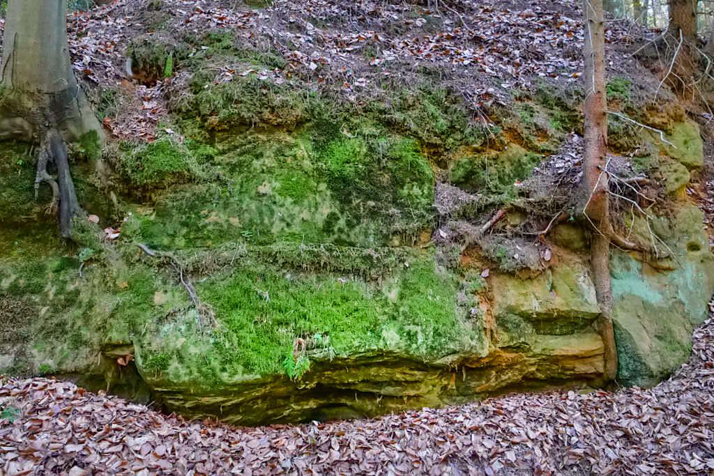 Häferloch - An den Wänden sind noch Bearbeitungsspuren für den Burggraben zu finden - Sinterterrassen Hoher Brunnen - Altmühltal, Bayern