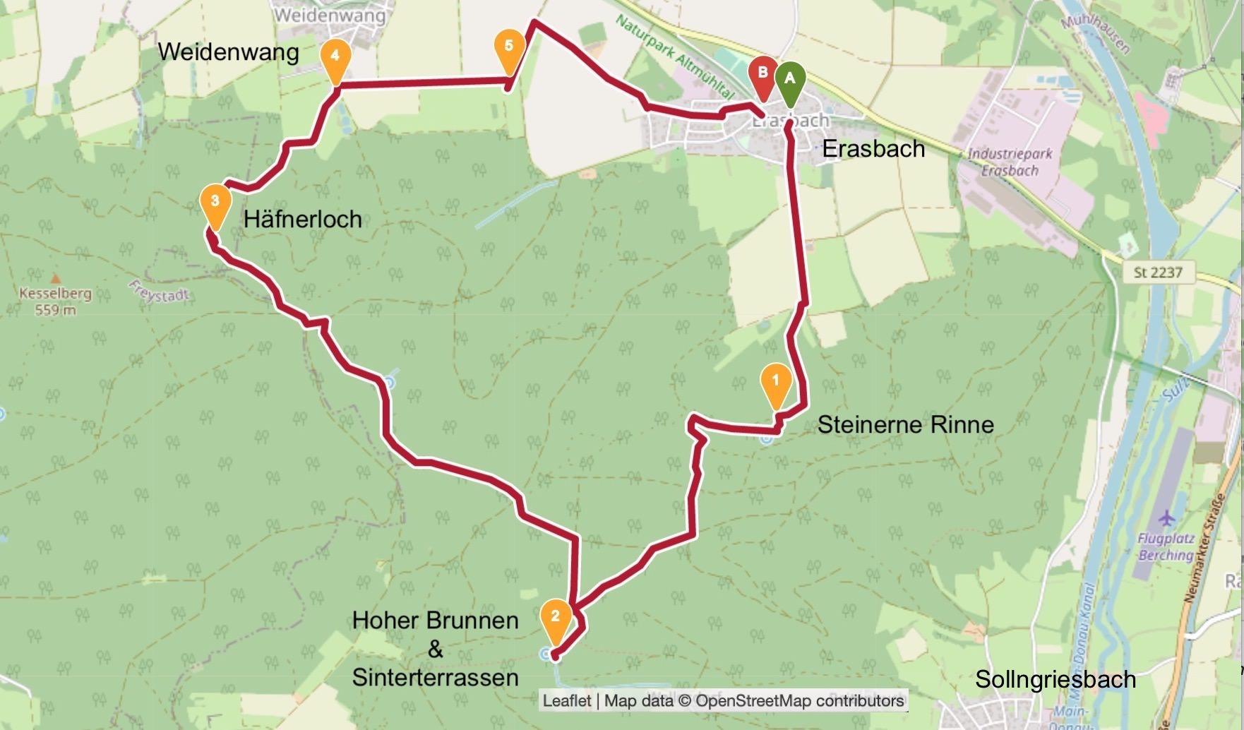 Rundwanderung Sinterterrassen Hoher Brunnen - Steinerne Rinne - Häfnerloch - Erasbach - Bayern