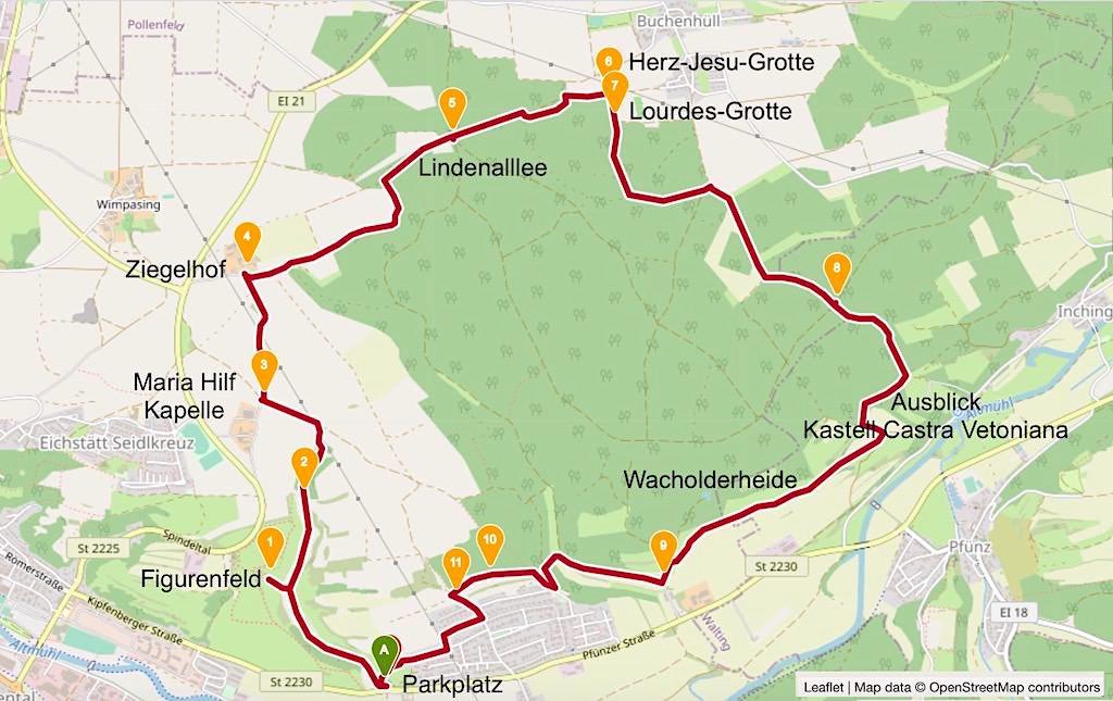 Karte TraumSchlaufe Eichstätt - Schlaufe Nr. 14 Altmühltal Geheimtipp-Wanderung - Bayern