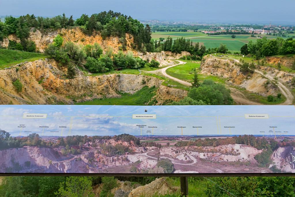 Ausblick von der Aussichtsplattform im Geotop Lindle - Donau-Ries - Nördlingen, Bayern