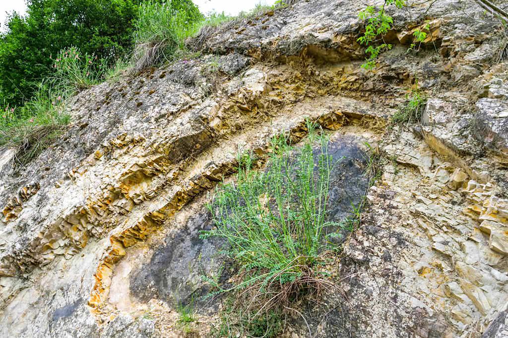 Geotop Kalvarienberg Gosheim - Faltung der Gesteinsschollen durch Ries-Ereignis - Bayern