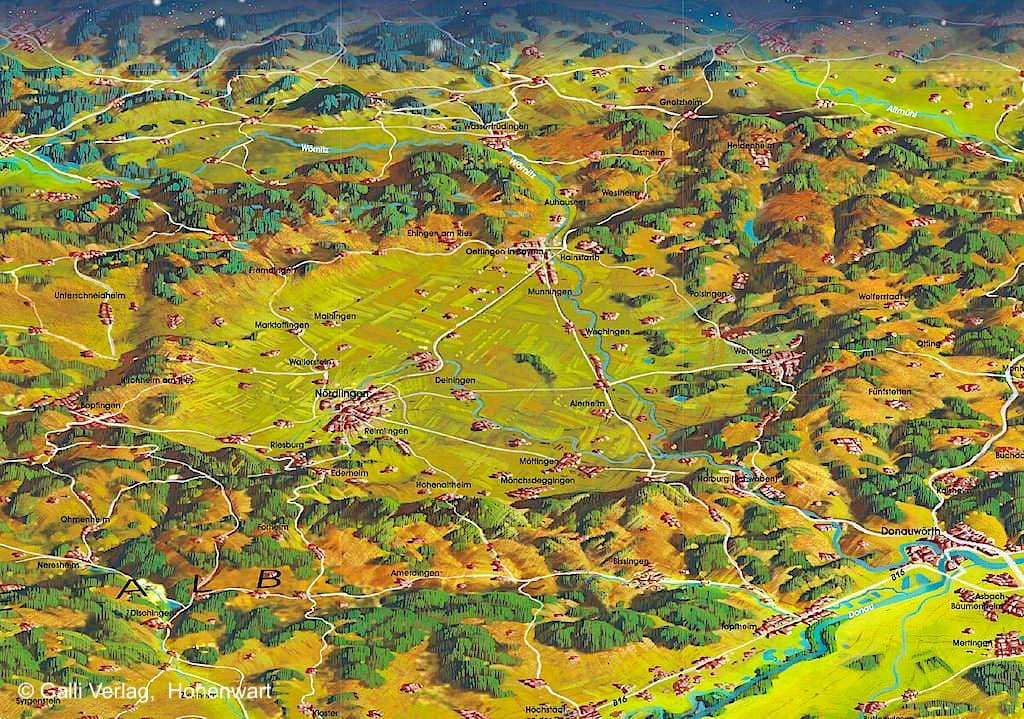 Rieskrater, Innerer Ring & Äußerer Ring als 3D Karte - Donau-Ries, Bayern